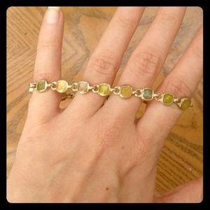 LC Liz Claiborne Green and gold bracelet